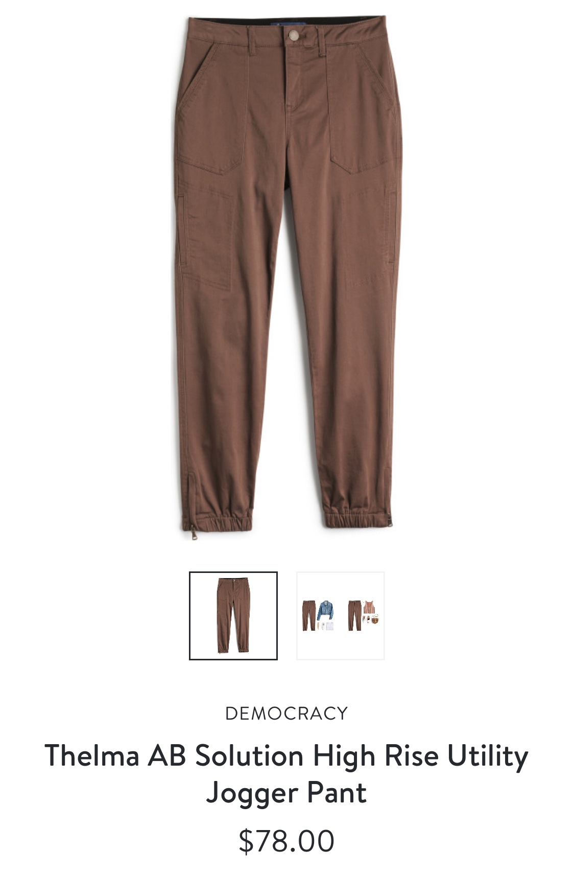 Stitch Fix Democracy Thelma AB Solution High Rise Utility Jogger Pant