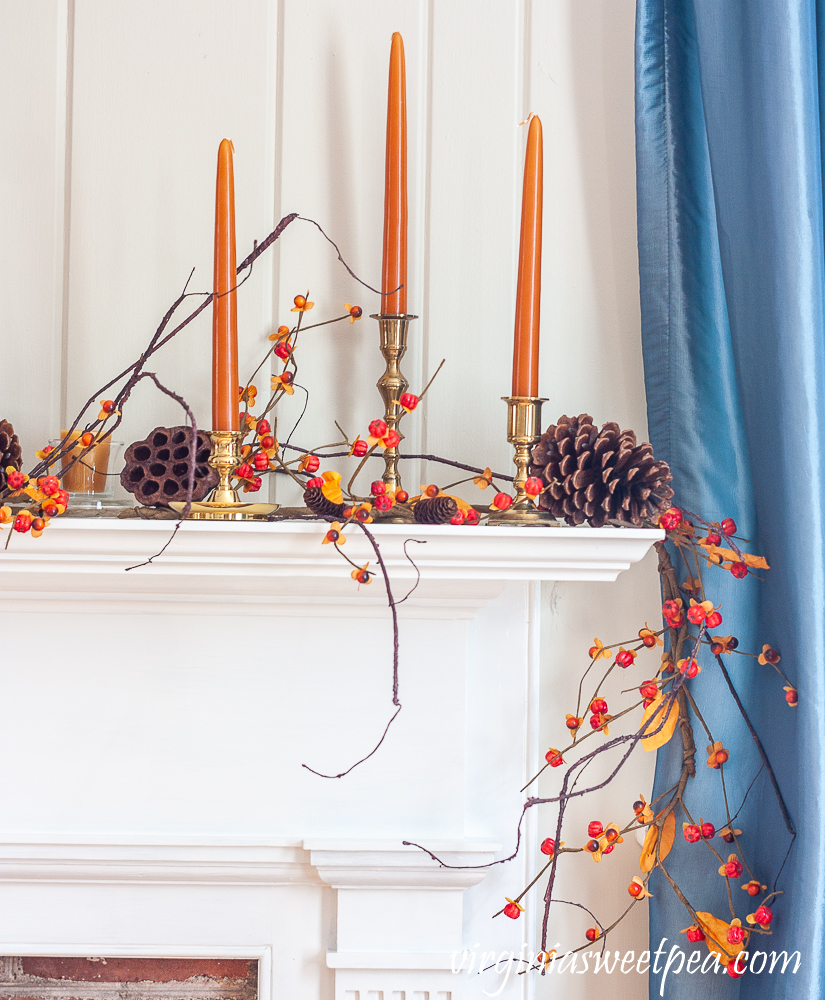 Fall Mantel decorated with nature inspired items including lotus pods, bittersweet, and pine cones.
