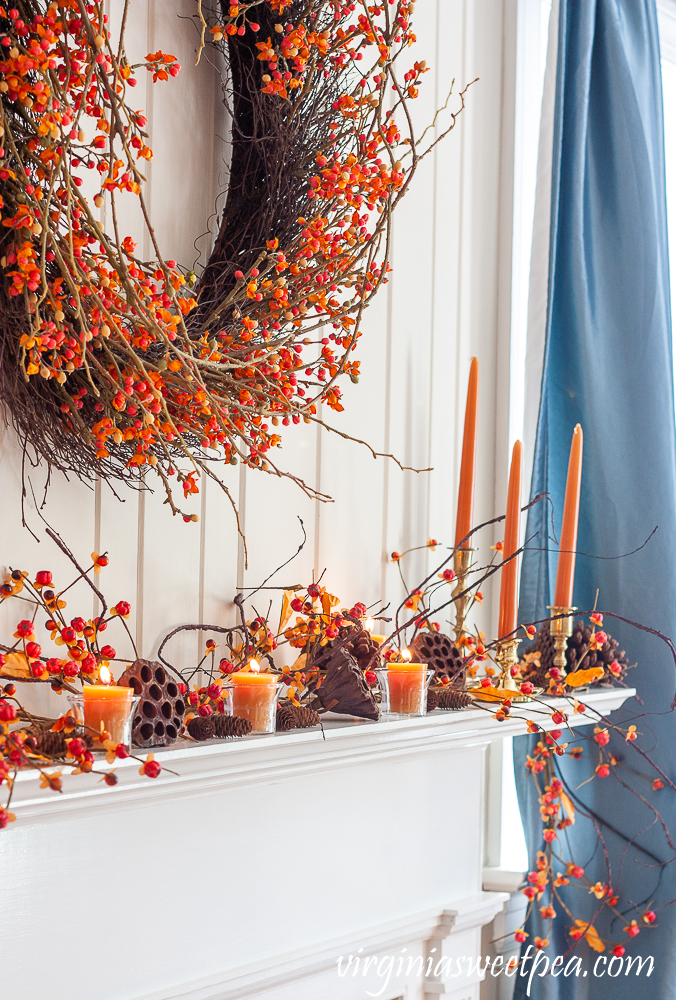 Fall mantel decorating ideas including using items from nature.