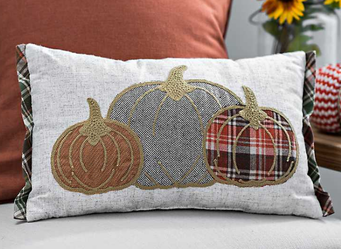 Fall pillow with three pumpkins and plaid trim