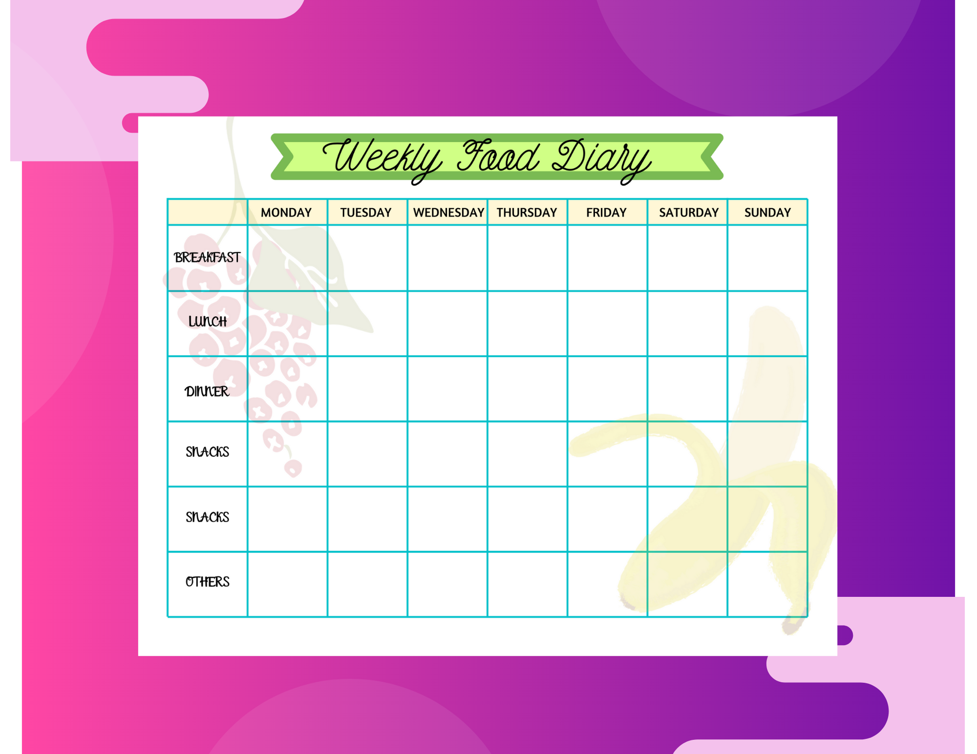 Free Printable Weekly Food Diary