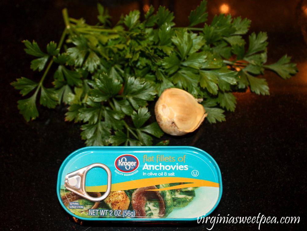 Anchovies, garlic, parsley