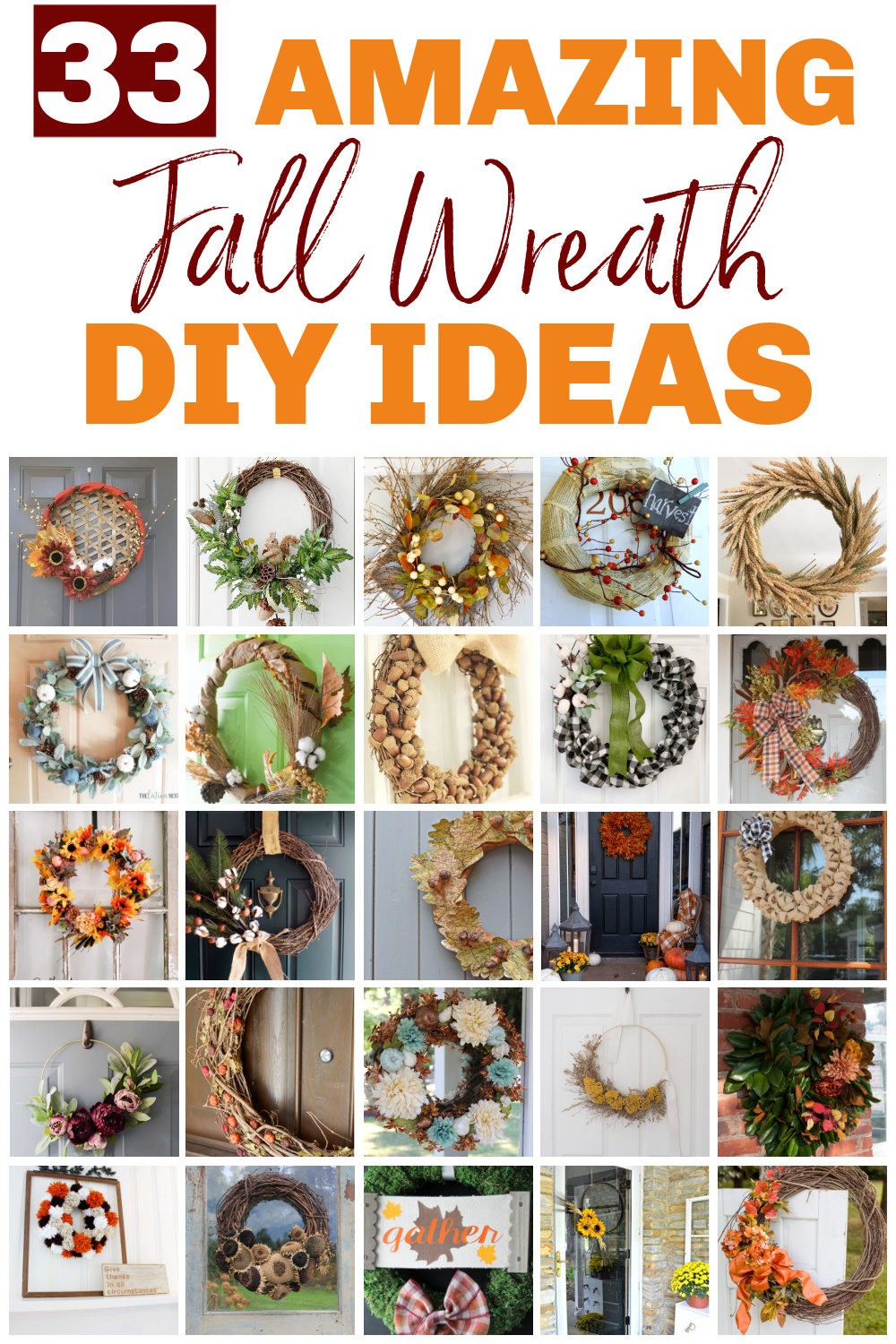A collection of handmade fall wreaths