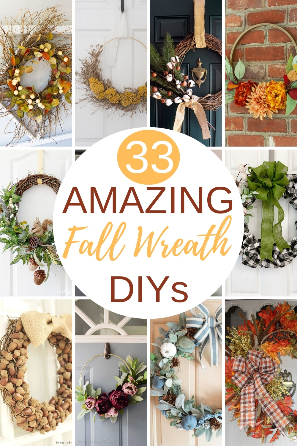 33 Amazing Fall Wreath DIYs - Get inspired to make a fall wreath using this collection of 33 DIY fall wreaths.  Learn how to make a fall wreath inspired by these shared by a group of talented home decor bloggers.  #fallwreathideas #diyfallwreath #diyfallwreathideas #howtomakeafallwreath via @spaula