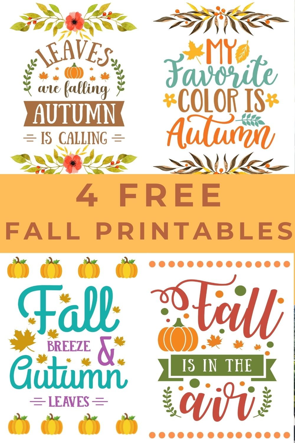 Free Fall Printables - Print these pretty fall printables out and pop them in a frame for instant fall decor. These printables also look great hanging from a clipboard, tacked on a bulletin board, or taped to an office wall. #fallprintable #freefallprintable #freeprintable via @spaula