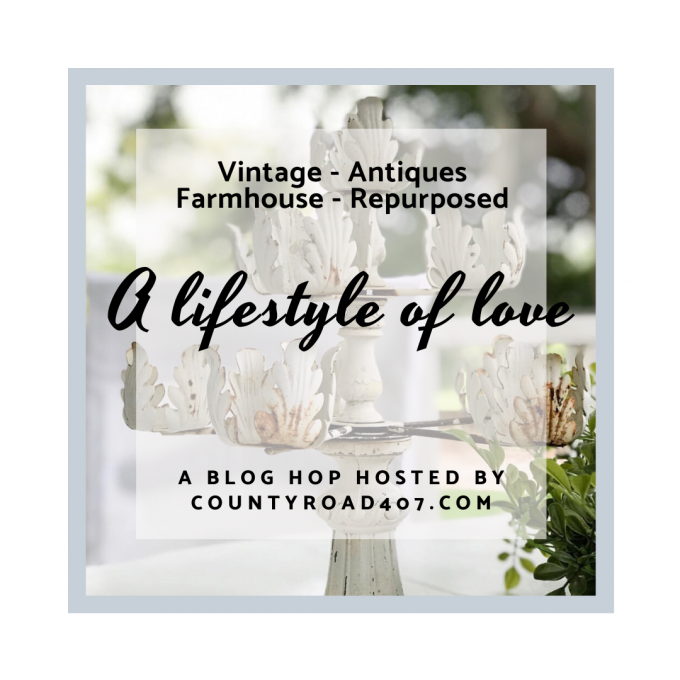 Graphic for blog hop focusing on explaining how to use vintage items for home decor.