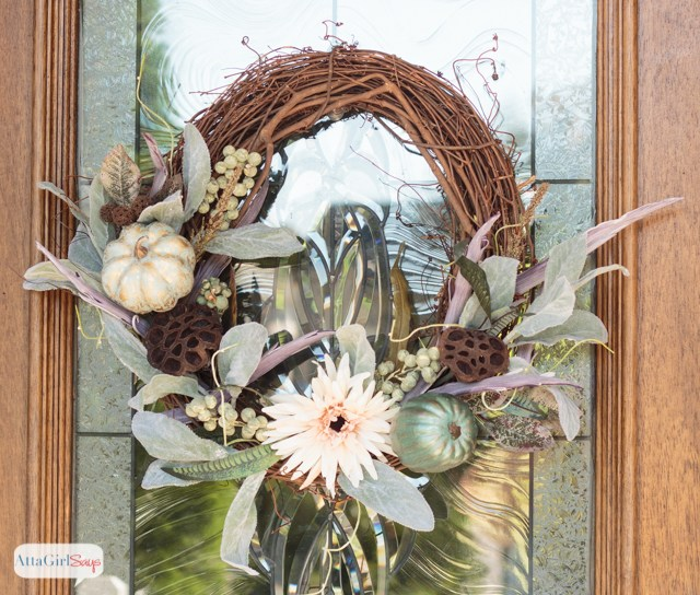 Fall Wreath decorated with neutral colors