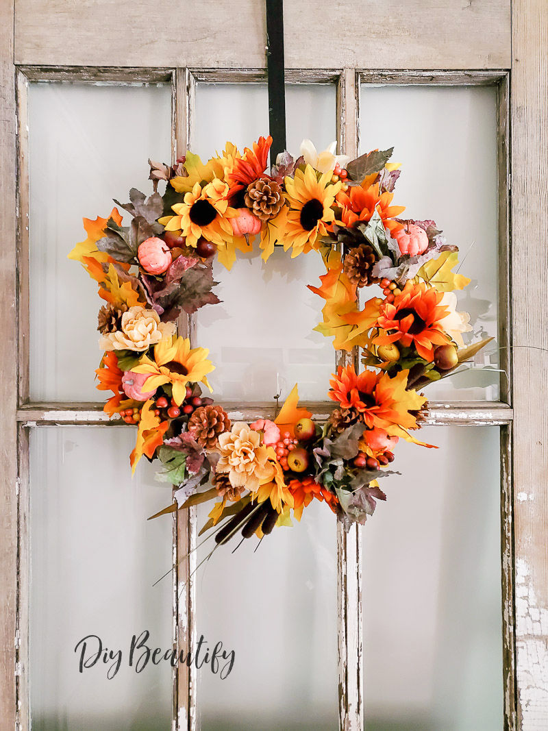 Fall wreath made using supplies from the Dollar Store