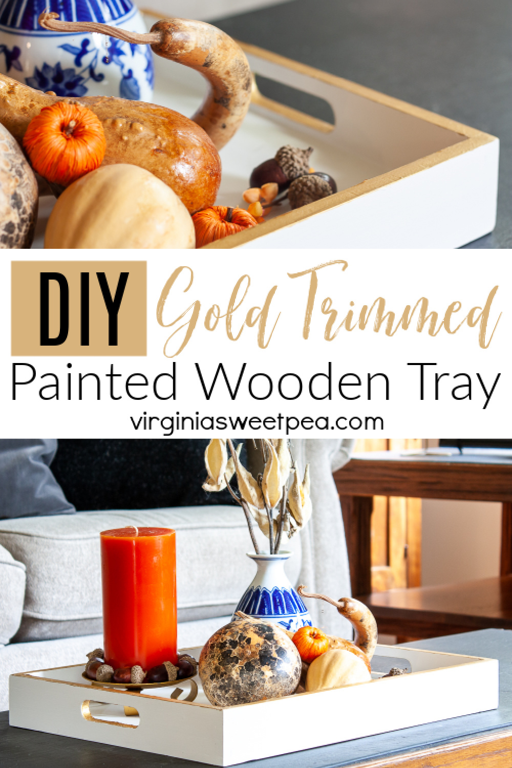 DIY Gold Trimmed Painted Wooden Tray - Learn how to paint a wooden tray to make a beautiful home decor piece that can be used for decorating in any season.  Gold trim gives this tray a touch of glam! via @spaula