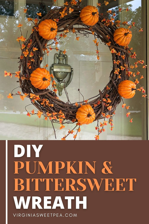 DIY Pumpkin & Bittersweet Wreath - Learn how to make a pumpkin & bittersweet wreath by following this step-by-step tutorial.  #fallwreath #pumpkinwreath #bittersweetwreath  via @spaula