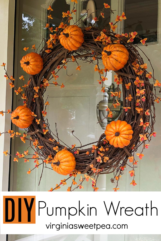DIY Pumpkin Wreath - Learn how to make a pumpkin wreath with bittersweet by following this step-by-step tutorial.  #fallwreath #pumpkinwreath #bittersweetwreath via @spaula