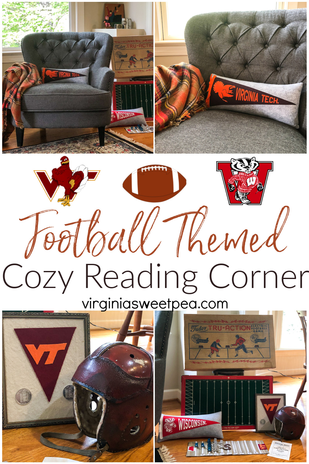 Football Themed Cozy Reading Corner - Who doesn't associate football with fall?  This reading corner is decorated with both Virginia Tech and Wisconsin football decor along with vintage football items from the 1920s through 1970s.  #footballdecor #virginiatech #hokies #vintagehomedecor  via @spaula