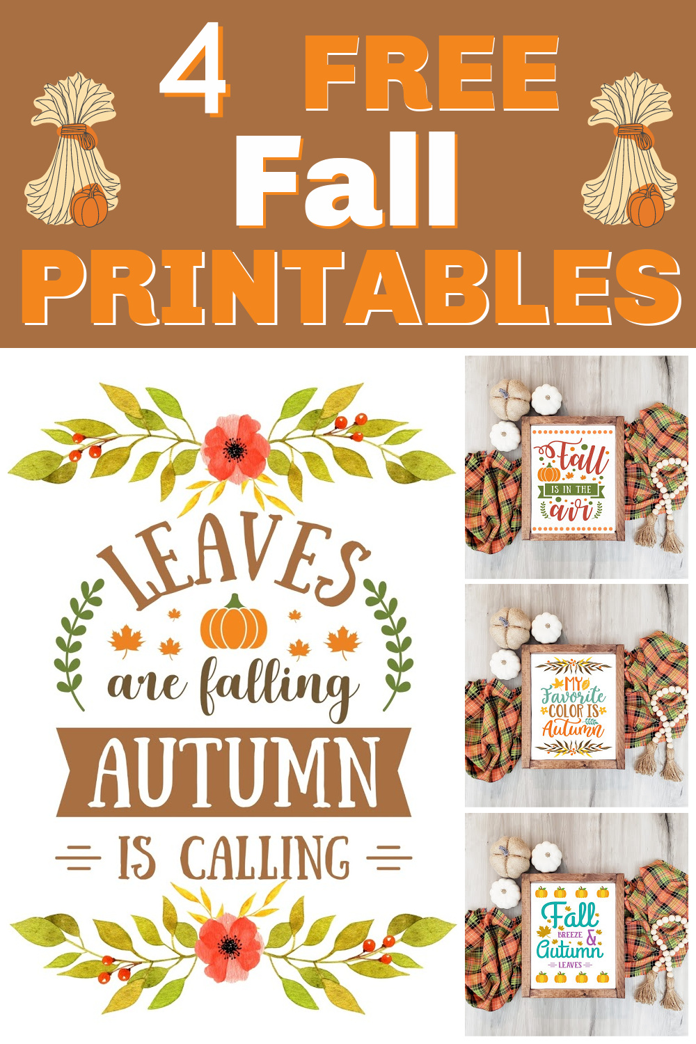 Free Fall Printables - Print these pretty fall printables out and pop them in a frame for instant fall decor.  They also look great hanging from a clipboard, tacked on a bulletin board, or taped to an office wall.  #fallprintable #freefallprintable #freeprintable via @spaula