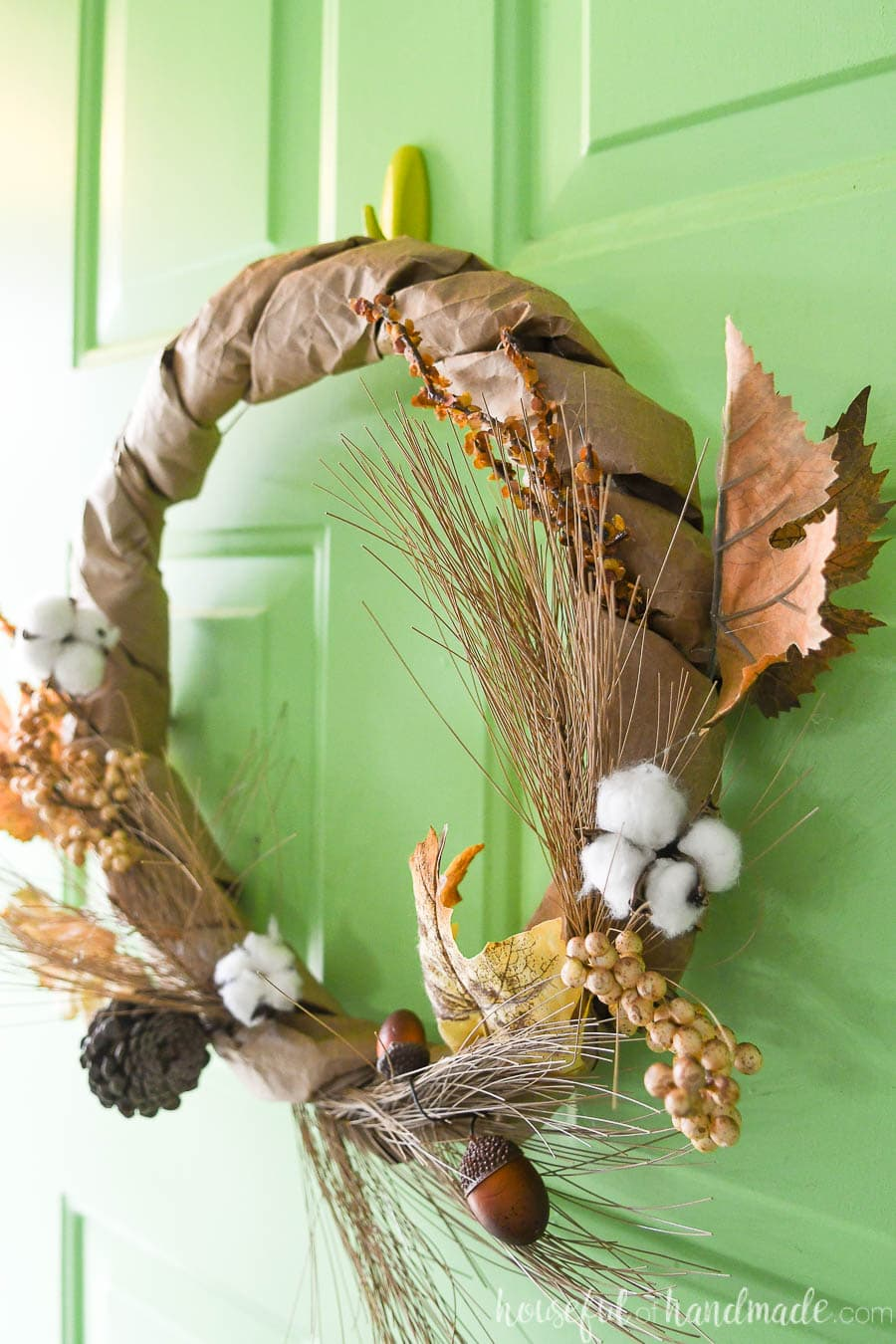Fall wreath made using upcycled paper bags