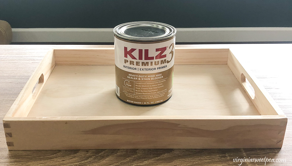 Kilz3 Premium used to prime a wooden tray from Target.