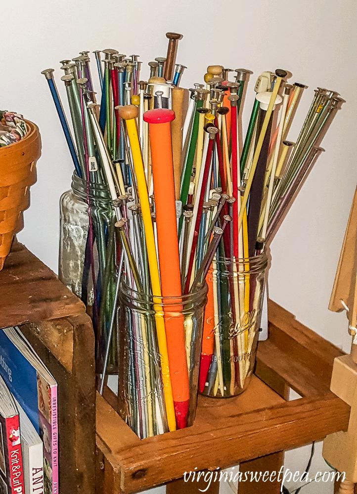 Kitting needles stored in Mason jars