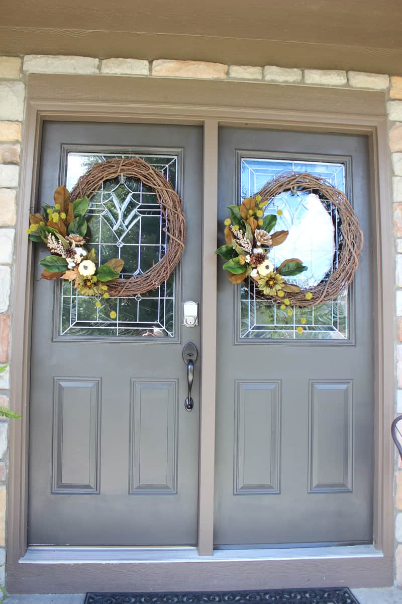 Fall wreaths on double doors