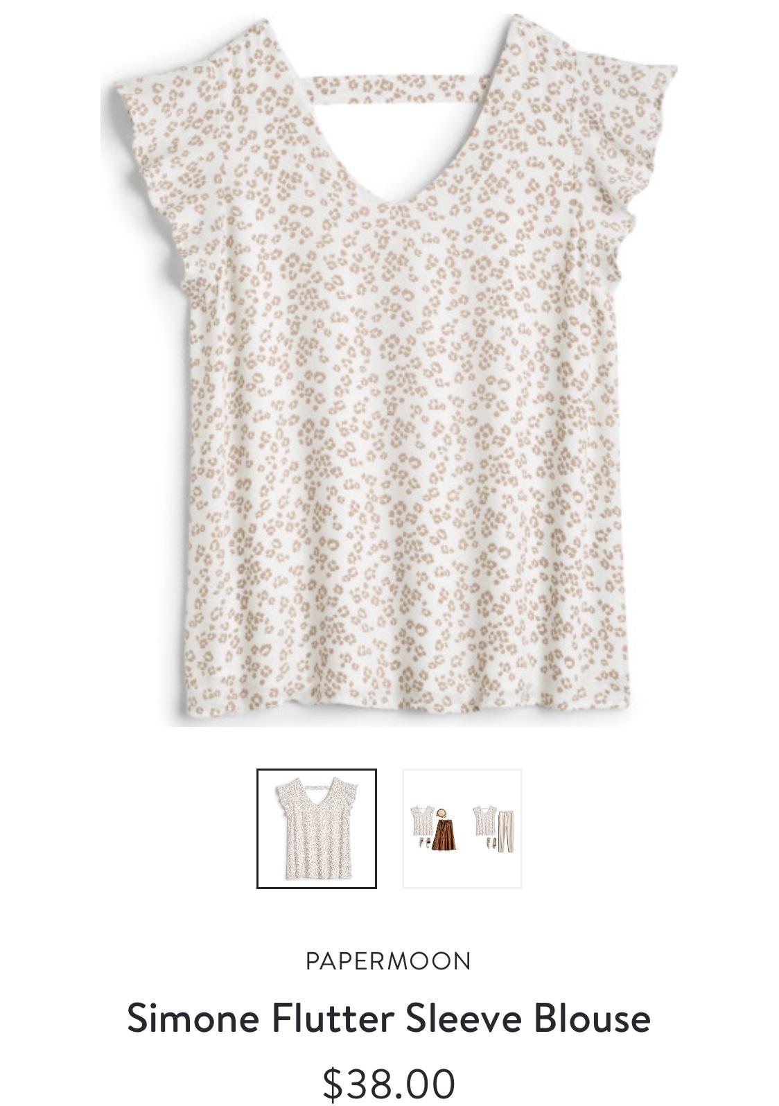 Papermoon Simone flutter Sleeve blouse