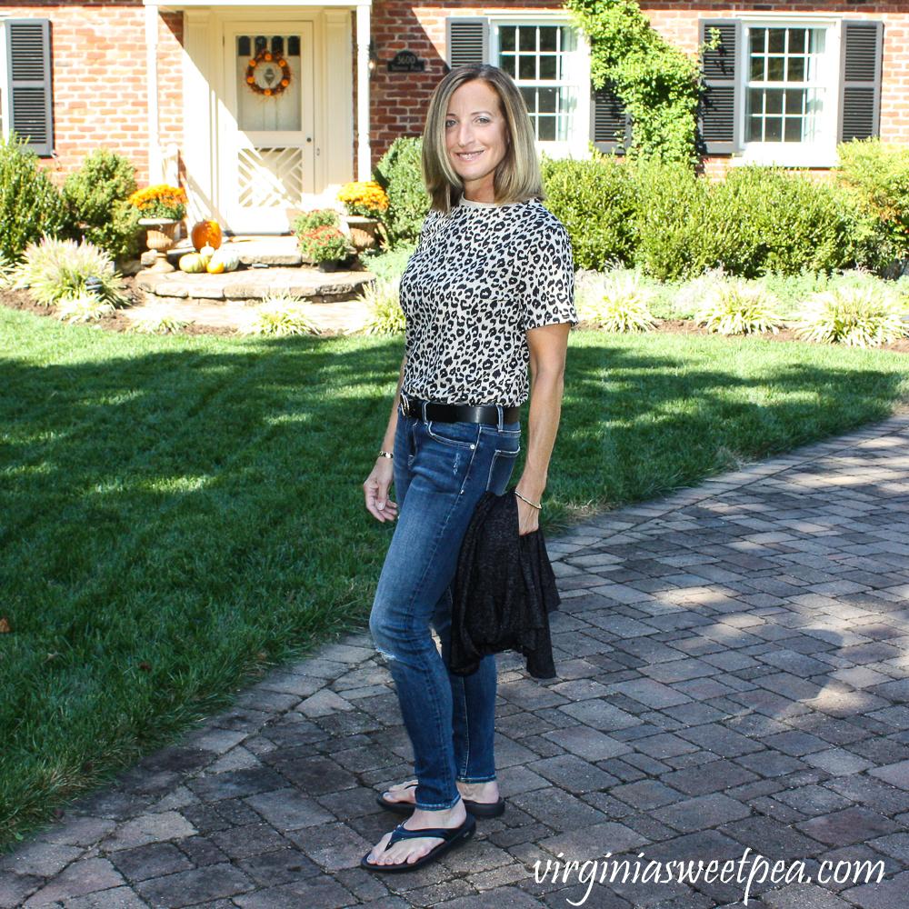 Stitch Fix Vigoss Elaine Girlfriend Distressed Jean with leopard shirt