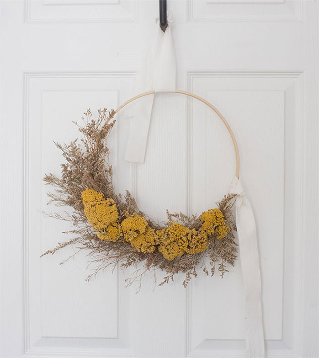 Fall hoop wreath made with natural materials