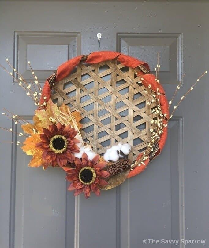 Fall Wreath using a tobacco basket