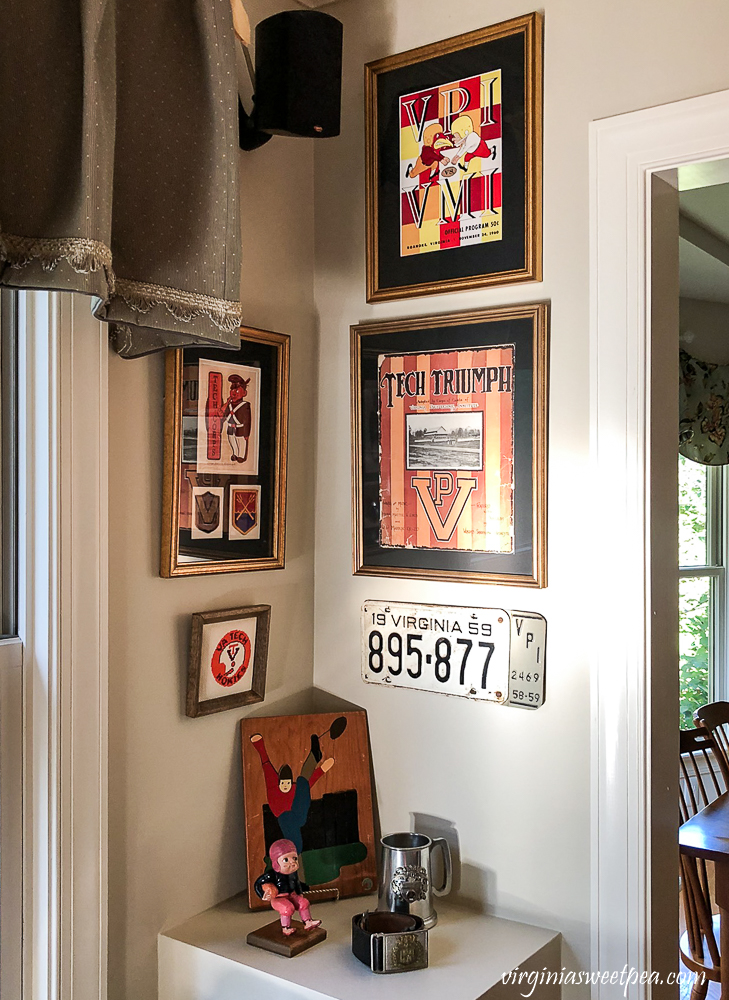 Family room corner decorated with vintage Virginia Tech football themed items