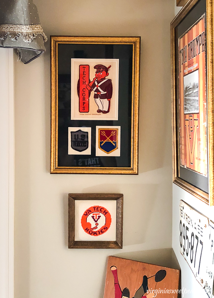 Framed Virginia Tech Corp of Cadets memorabilia with a Virginia Tech Hokies football cross stitch