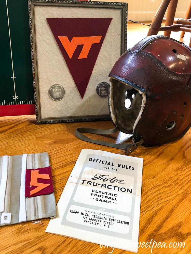 1920s football helmet, VT deco, Tudor Tru-Action Electric football game