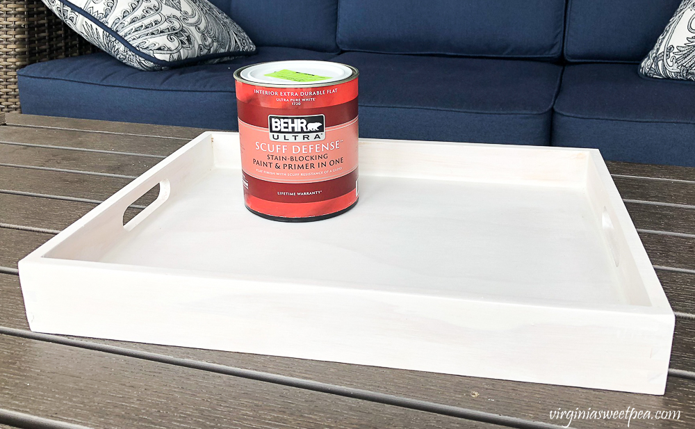 Painting a wooden tray with Behr Ultra Scuff Defense Paint and Primer in One