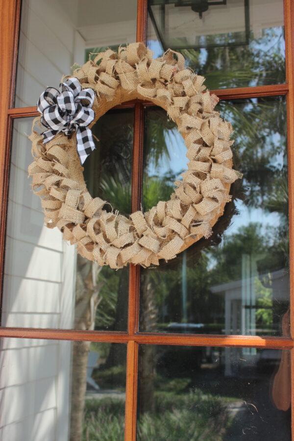 Fall wreath made using a coffee sack