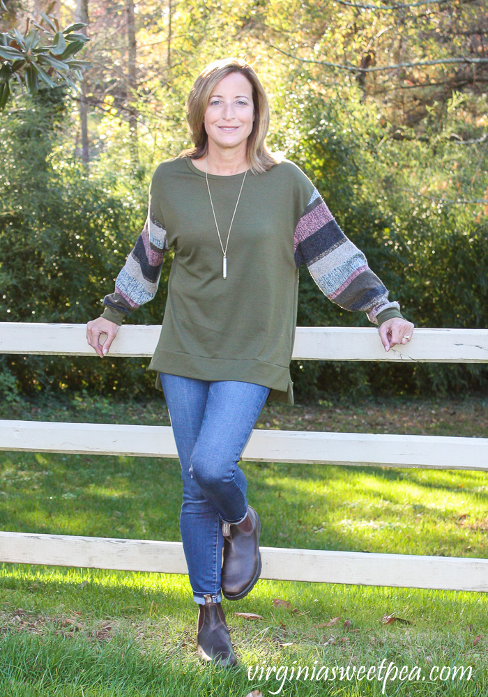 Fashom Les Amis Contrast Sleeve Sweater