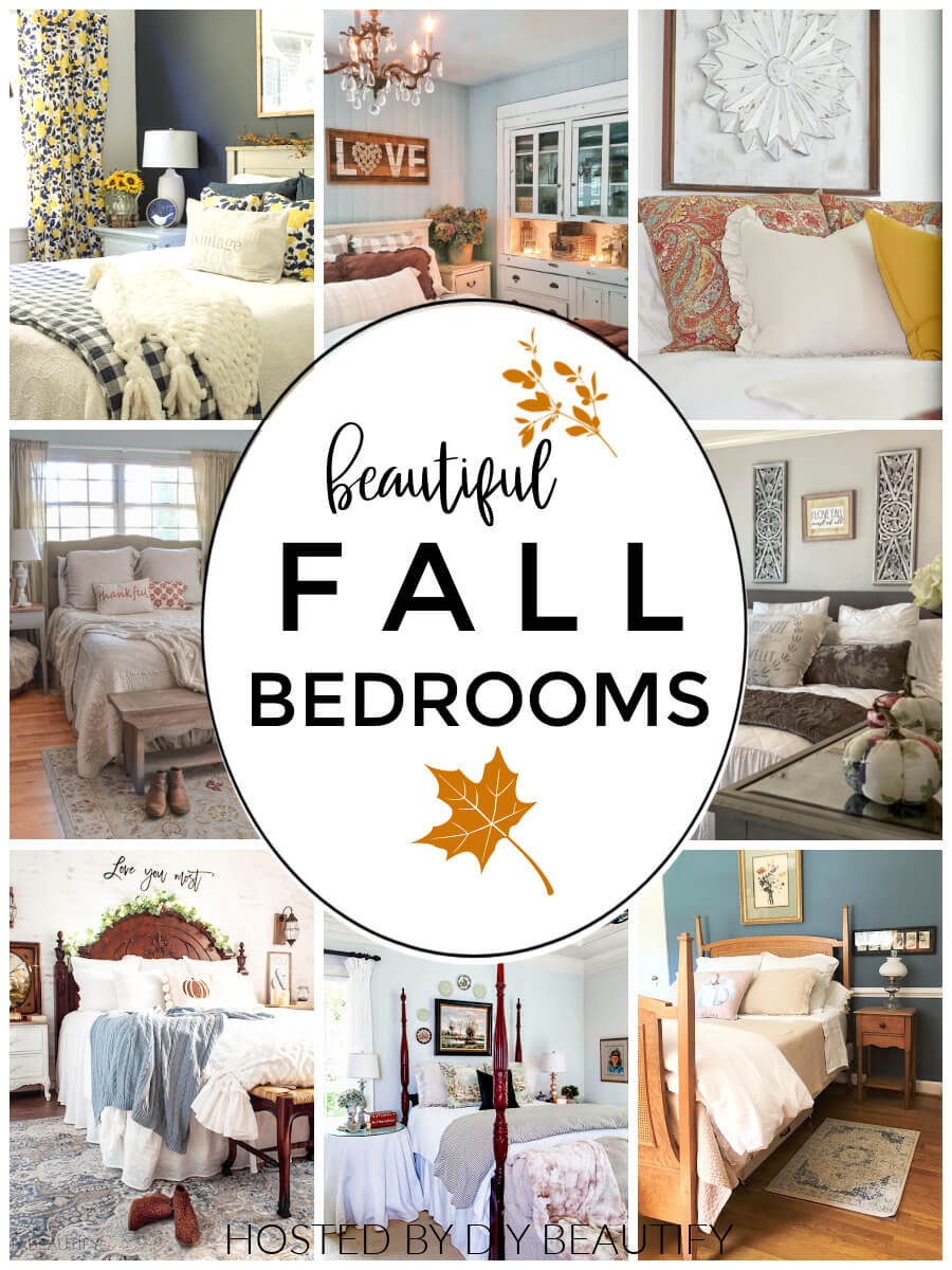 Collage showing eight bedrooms decorated for fall.
