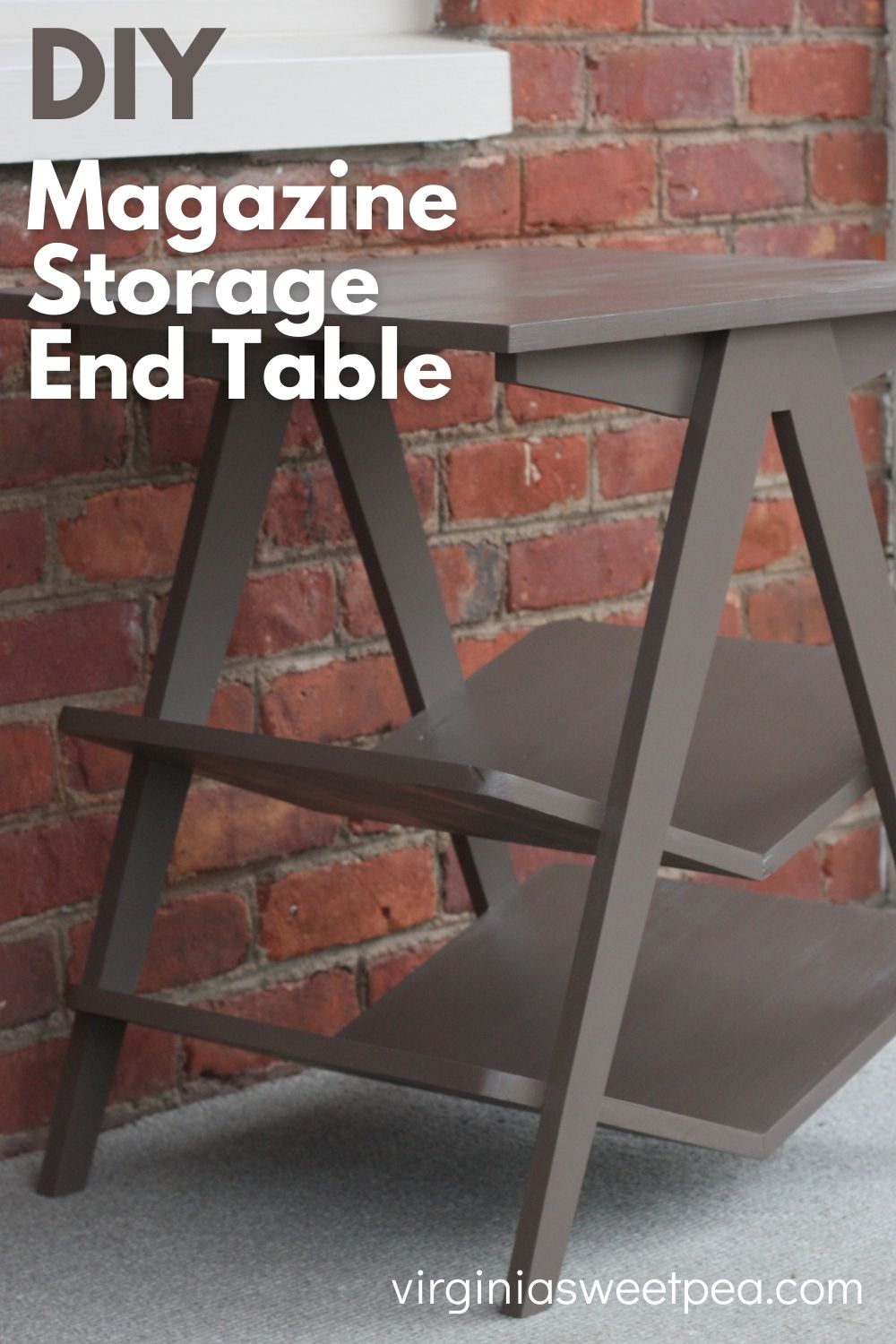 DIY Magazine Storage End Table - Learn how to make a side table with built-in shelves for magazine and book storage.  #diysidetable #diyendtable  via @spaula