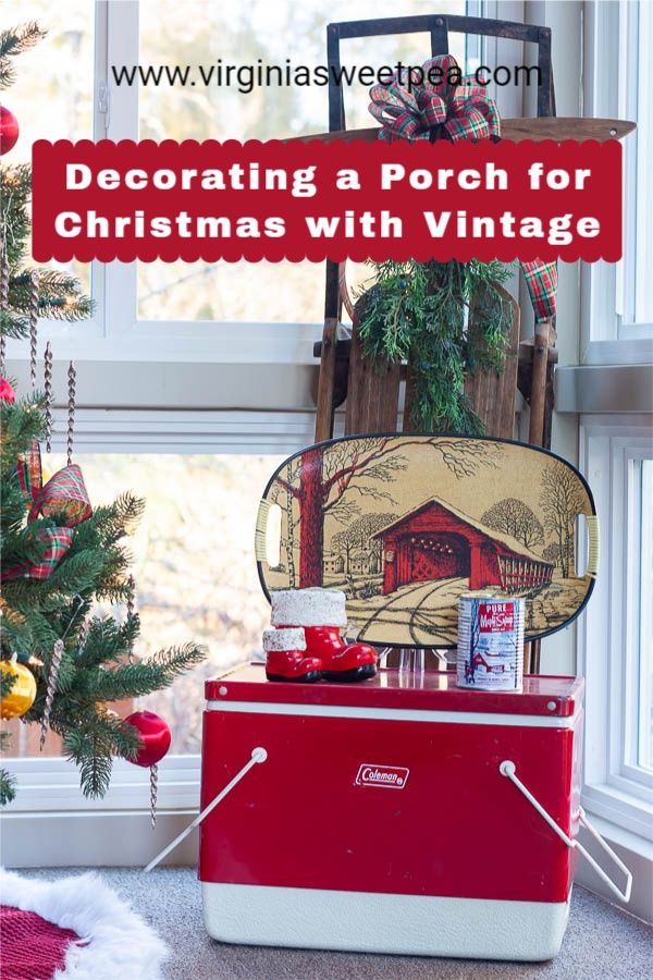 A Very Vintage Christmas on the Porch - See a porch decorated for Christmas with Vintage and get ideas for Christmas porch decor from 12 other home decor bloggers.   via @spaula