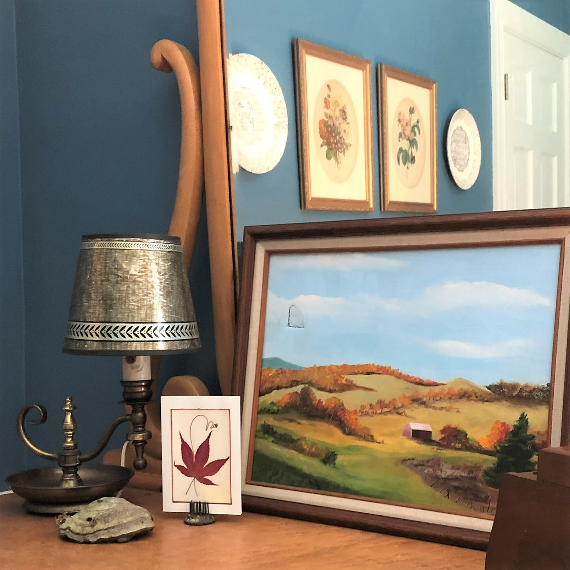 Vintage brass lamp, painting of Vermont in fall, pressed maple leaf