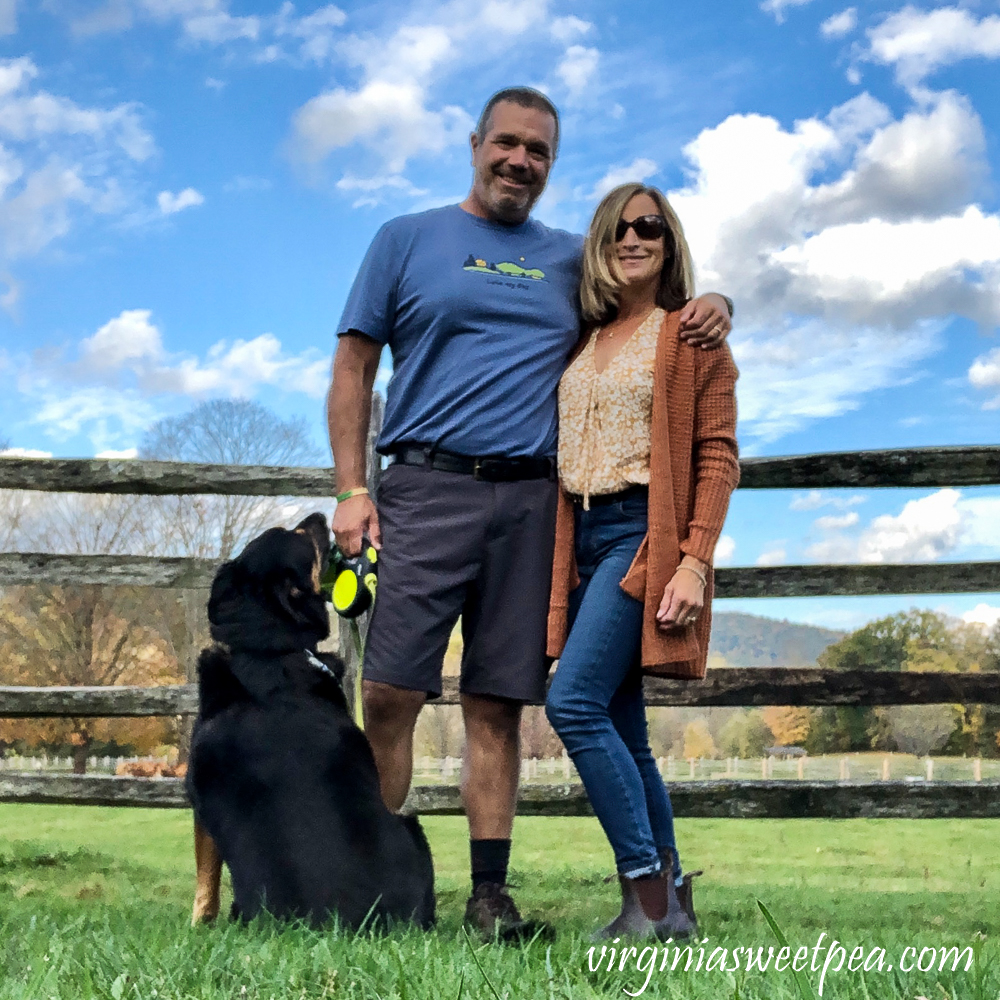 Couple and dog at Billings Farm in Woodstock, Vermont
