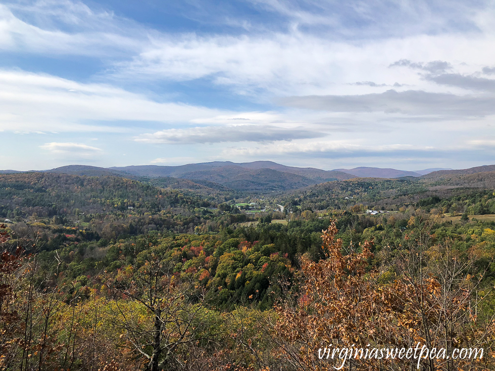 Fall foliage in Woodstock, VT from the summit of Mt. Tom