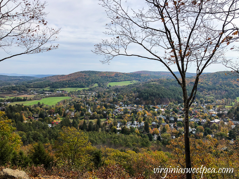 Town of Woodstock, Vermont from the top of Mt. Tom in fall