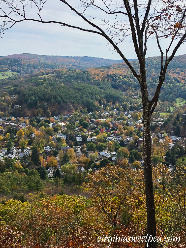 View of the town of Woodstock, Vermont from the top of Mt. Tom in fall