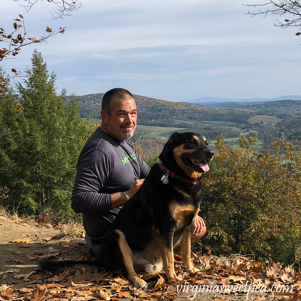Enjoying fall foliage at the top of Mt. Tom in Woodstock, Vermont