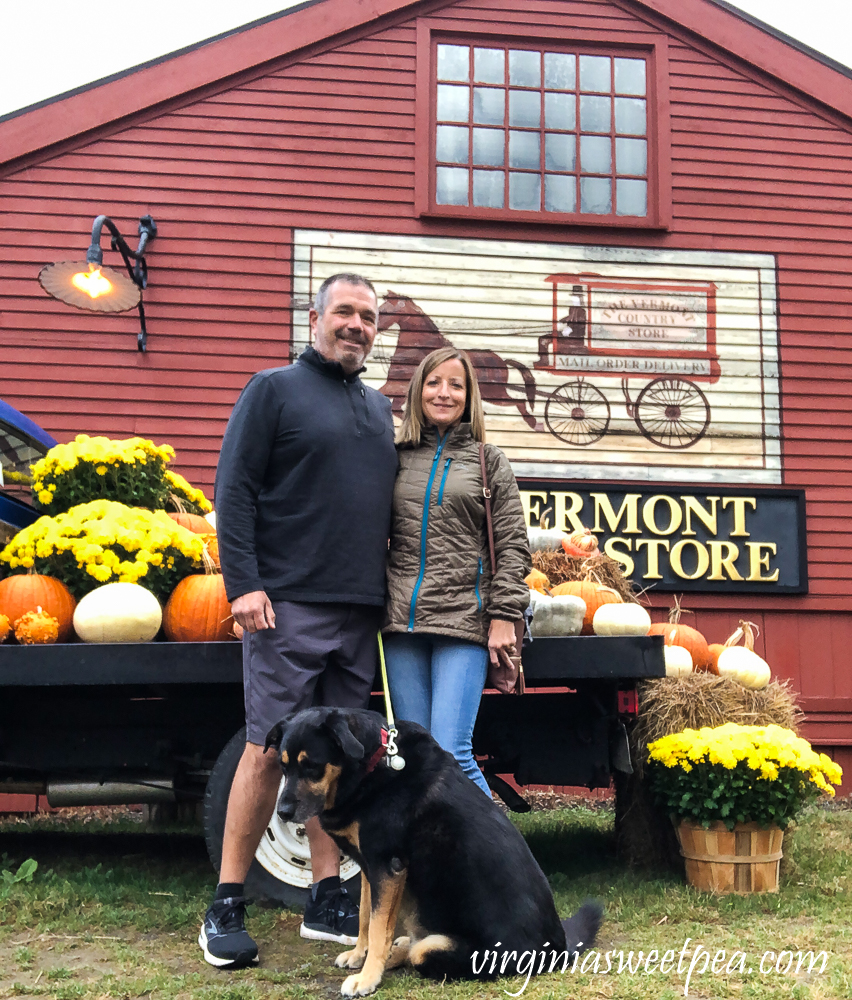 Couple and dog at The Vermont Country Store