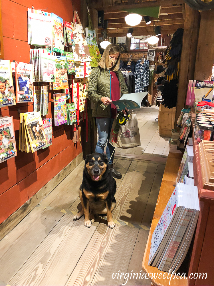 Shopping at The Vermont Country Store with a dog