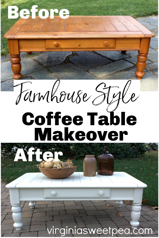 Farmhouse Style Coffee Table Makeover - A $5 yard sale coffee table gets a farmhouse style makeover with paint. via @spaula