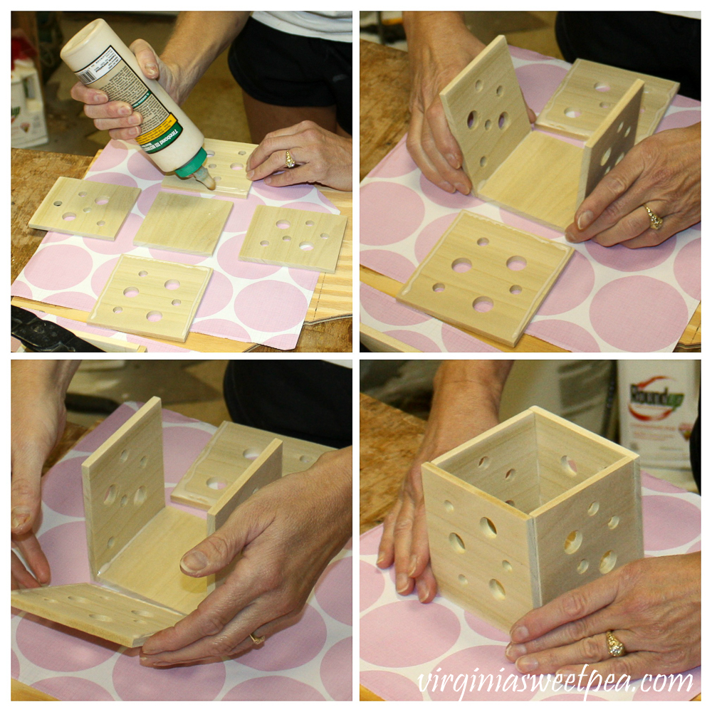 Four pictures showing steps to make a candle holder