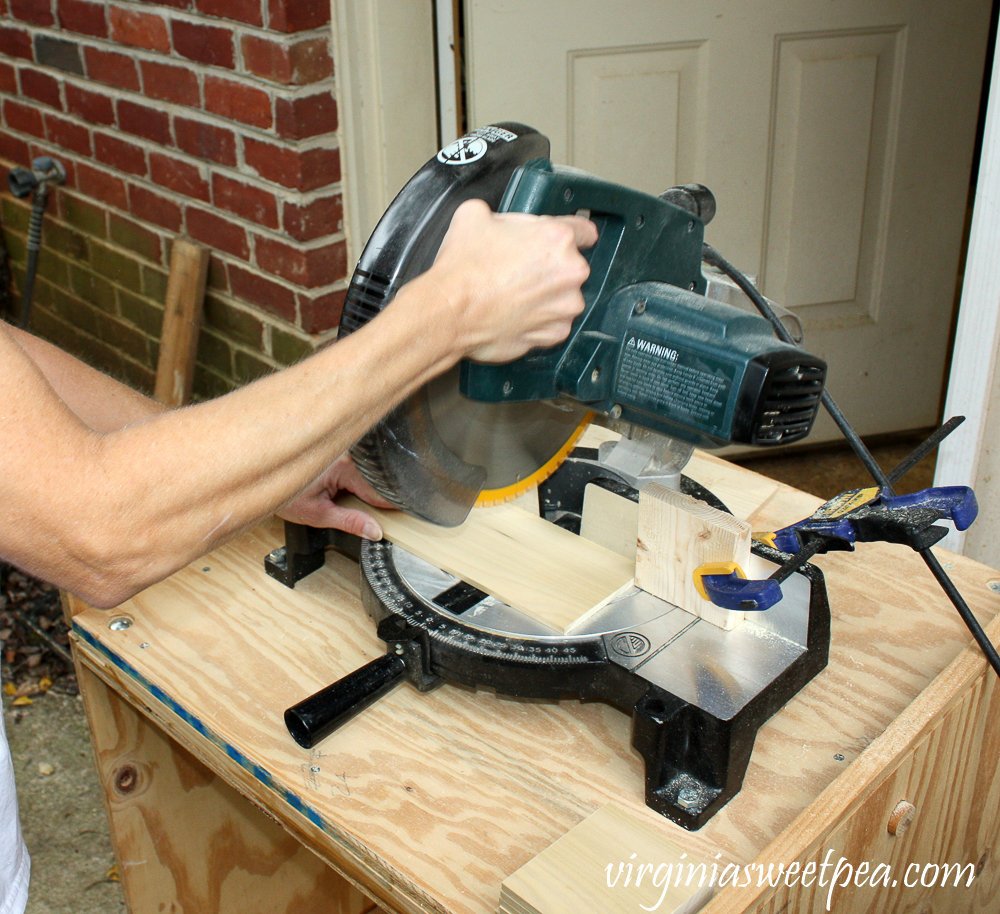 Cutting wood with a chop saw