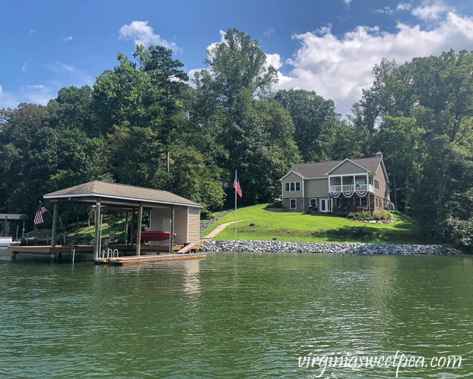 New riprap on the shoreline of a Smith Mountain Lake, VA home