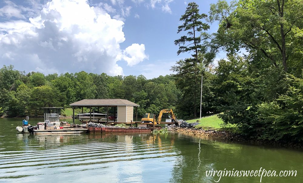 Smith Mountain Lake shoreline getting new riprap installed
