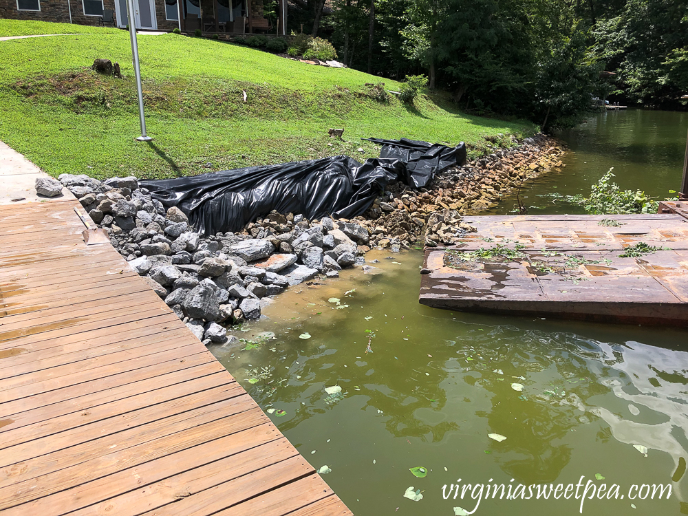 Riprap installation at Smith Mountain Lake home