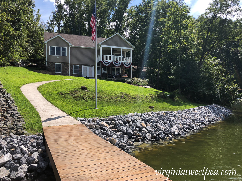 Shoreline in front of a Smith Mountain Lake home with new riprap