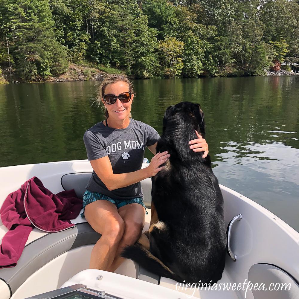 Paula Skulina and Sherman Skulina on a boat at Smith Mountain Lake, VA